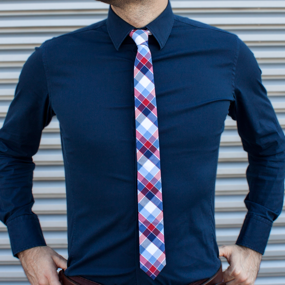 Cravata Carouri Rosu Albastru